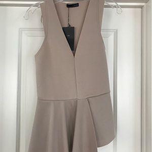 Zara Neutral Peplum Top with Asymmetric Hem